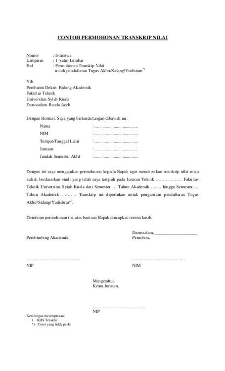 Contoh Surat Cuti Kuliah