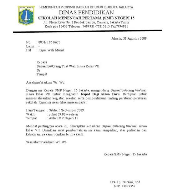 Contoh Surat Dinas Tugas Pengawas UN