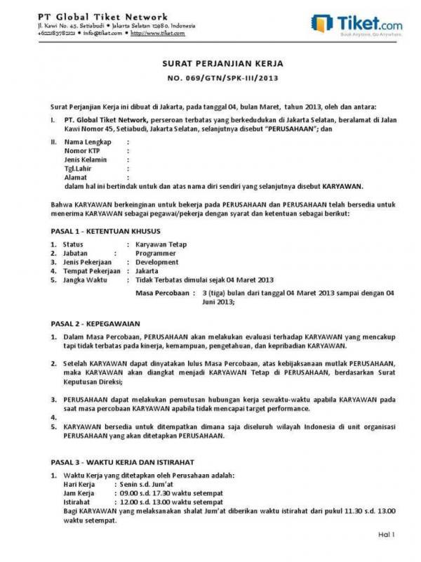 Contoh Surat Kontrak Kerja Sebagai Karyawan Tetap