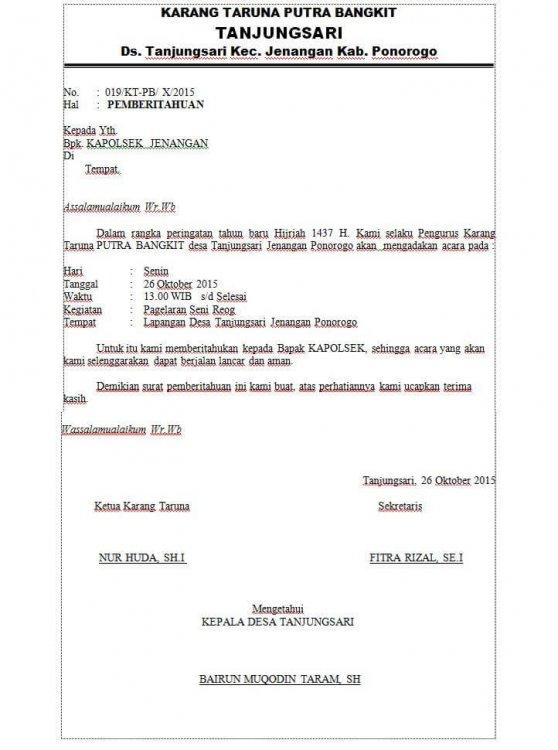 Contoh Surat Pemberitahuan Kegiatan Ke Polsek
