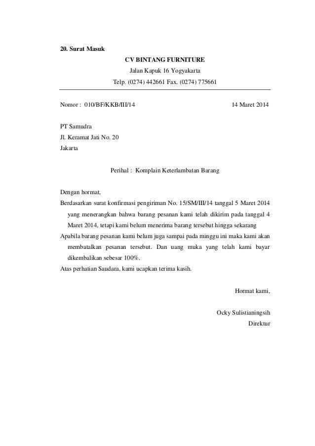 Contoh Surat Pengaduan Kesalahan Pada Dokumen Resmi