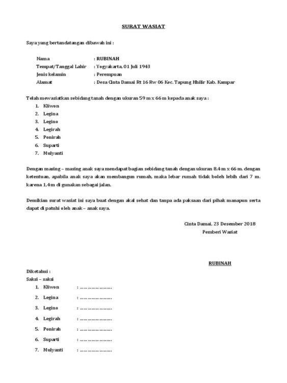 Contoh Surat Wasiat Umum