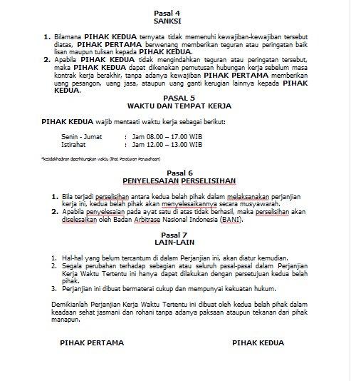 Contok Surat Kontrak Kerja Untuk Outsourching