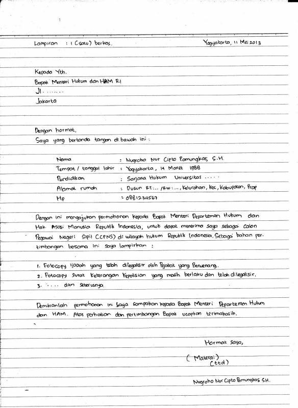 Contoh Surat Lamaran Kerja Simple Tulis Tangan Untuk CPNS