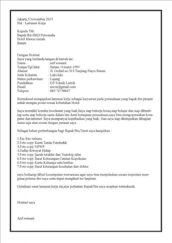 Contoh Surat Lamaran Kerja Di Hotel Sebagai Resepsionis