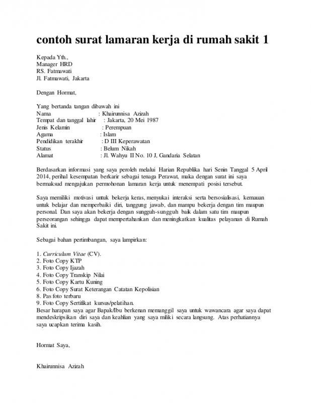 Contoh Surat Lamaran Kerja Di Rumah Sakit Posisi Perawat