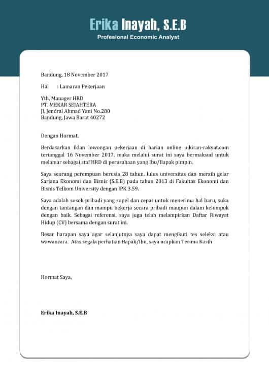 Contoh Surat Lamaran Kerja Untuk Lowongan Online