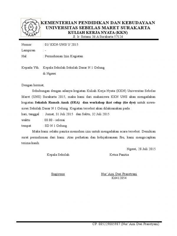 Contoh Surat Pengajuan Permohonan Izin Penyelenggaraan Acara