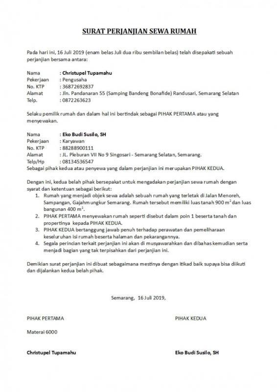 Contoh Surat Perjanjian Kesepakatan Sewa Rumah