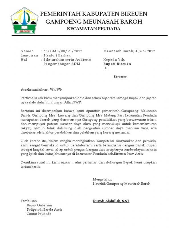 Contoh Surat Permohonan Audiensi Kepada Gubernur