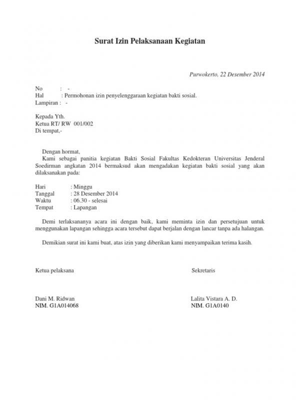 Contoh Surat Permohonan Izin Kegiatan Kepada Ketua RT