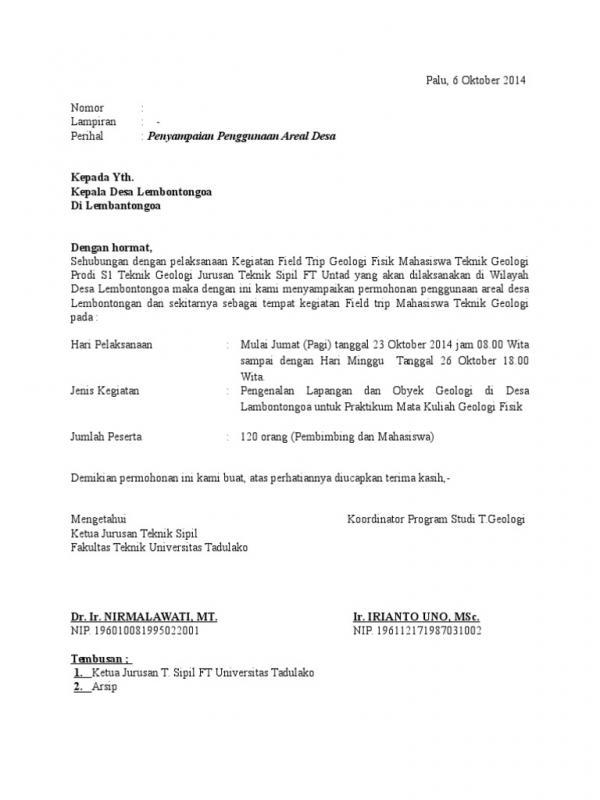 Contoh Surat Permohonan Izin Penggunaan Areal Desa
