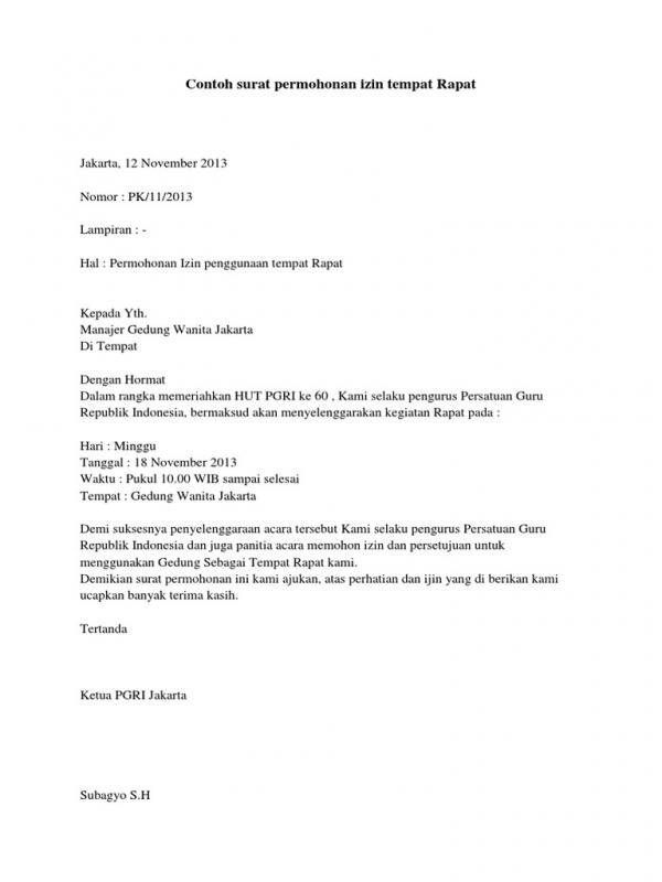 Contoh Surat Permohonan Izin Penggunaan Tempat Rapat