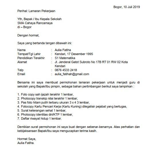 Contoh Surat Permohonan Kerja Menjadi Guru