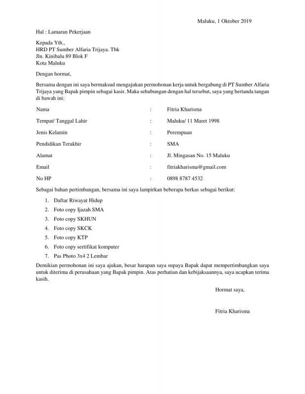 Contoh Surat Permohonan Kerja Via Email