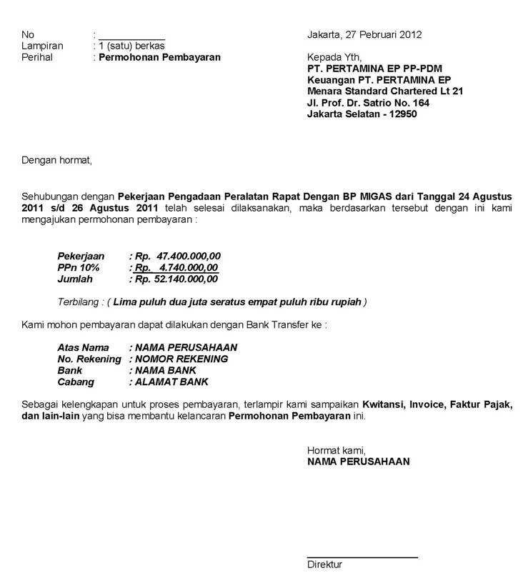 Contoh Surat Permohonan Pembayaran Barang 1