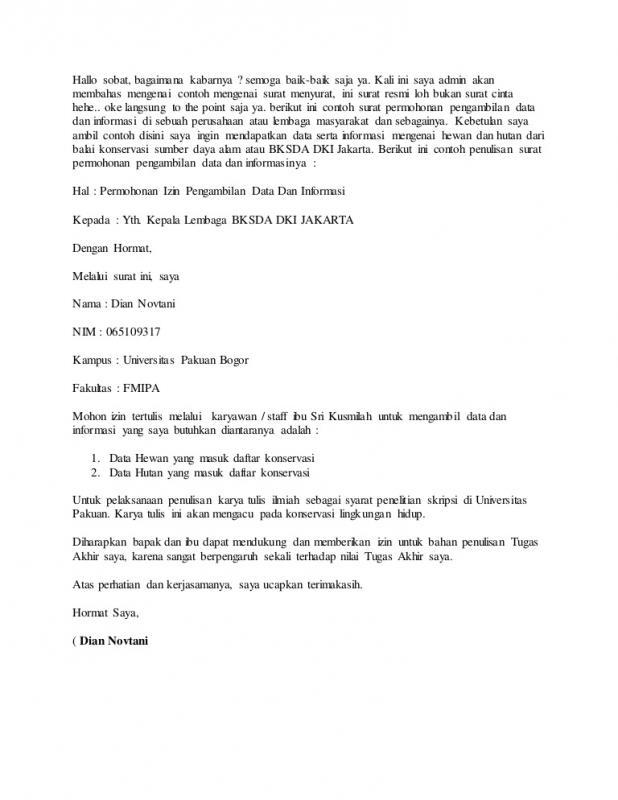 Contoh Surat Resmi Permintaan Data Untuk Proposal Kuliah