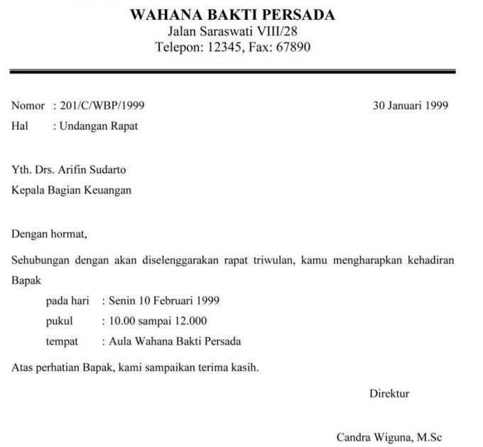 Contoh Surat Resmi Perusahaan Untuk Undangan Rapat