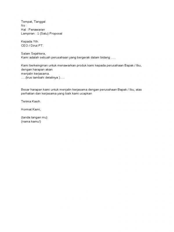 Surat Penawaran Catering Ke Perusahaan