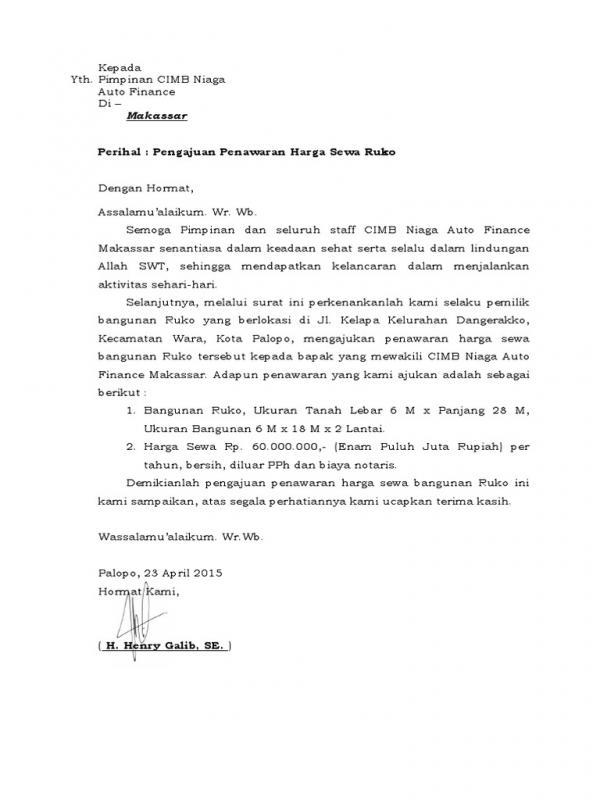Surat Penawaran Sewa Ruko Kepada Bank Daerah