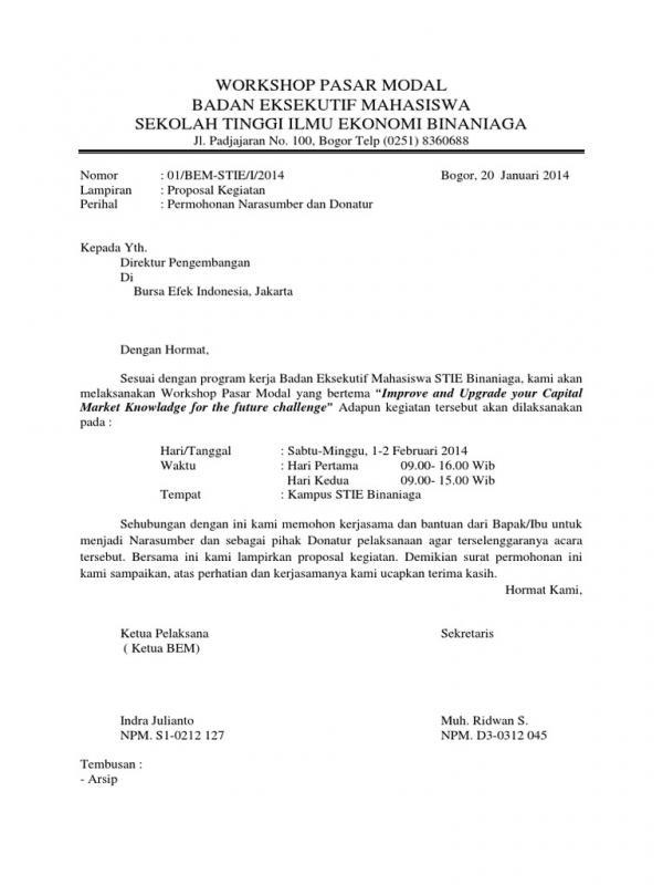 Surat Permohonan Narasumber Untuk Workshop